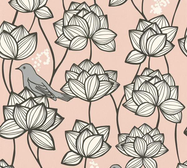 Vliestapete Blumen Vögel rosa weiß grau