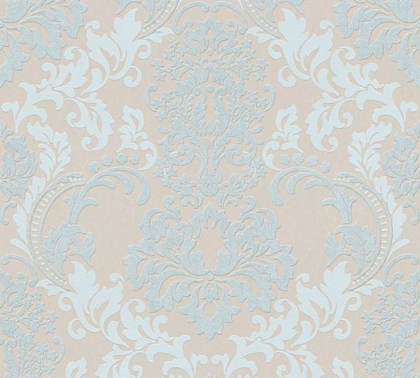 Vliestapete Barock Ornament mint beige Klara