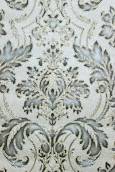 Hochwertige Vliestapete Barock Ornament creme grau