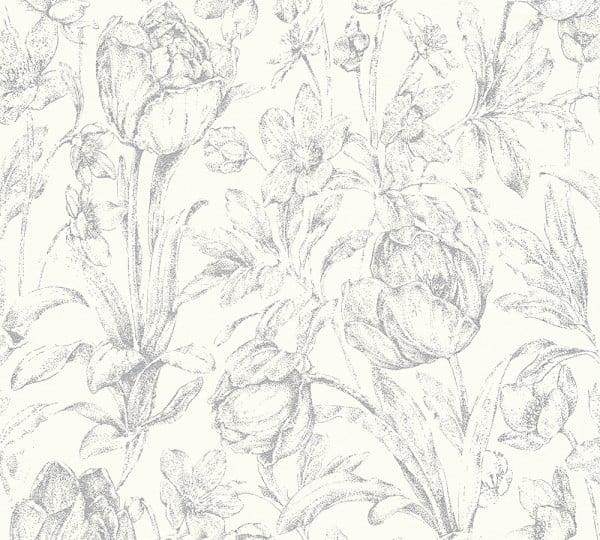 Vliestapete Floral weiß grau glanz Memory 3