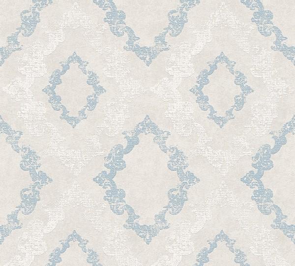 Vliestapete Barock Ornament Glitzer pastell grau blau