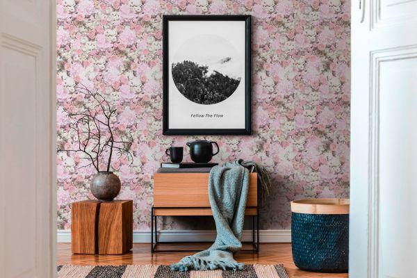 Vliestapete Botanical Rosen Hortensien weiß rosa