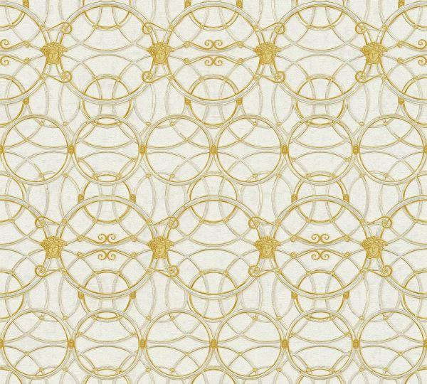 Tapete grafische Kreise Medusa creme gold metallic Versace