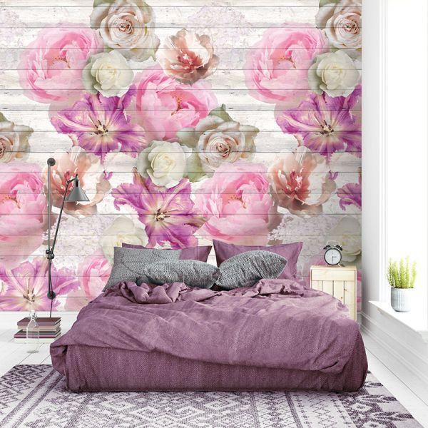 Vlies Fototapete floral Blumen Holzbalken Rosen Lilien flieder 200x280cm