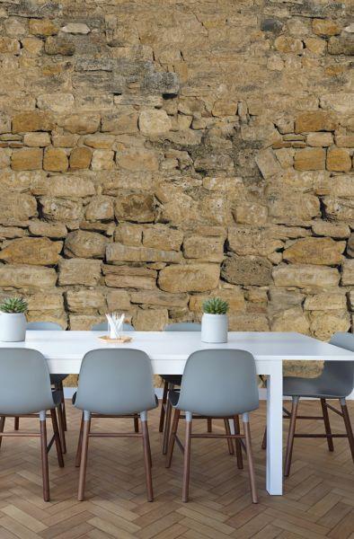 Vlies Fototapete Steinwand Mauer Bruchstein beige 200x280cm