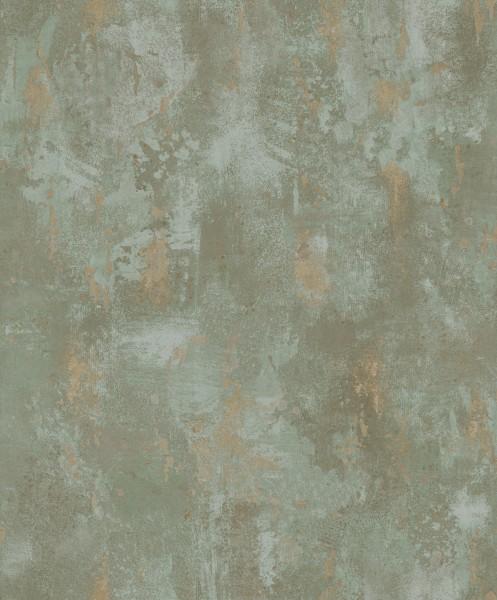 Vliestapete Stein Patina Spachtel Optik olivgrün gold metallic 1010