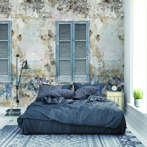 Vlies Fototapete Wandbild Steinwand Beton verwittert Fensterladen 200x300cm