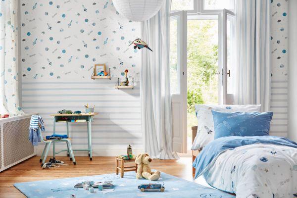 Weltraum Esprit Kids Tapete weiß blau metallic