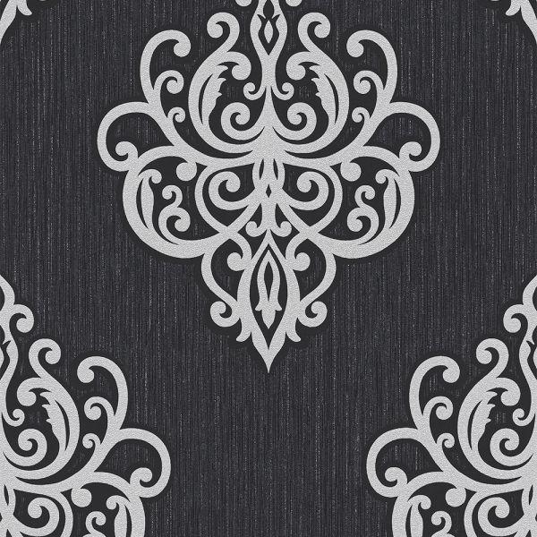Edle Vliestapete Barock Ornament schwarz silber