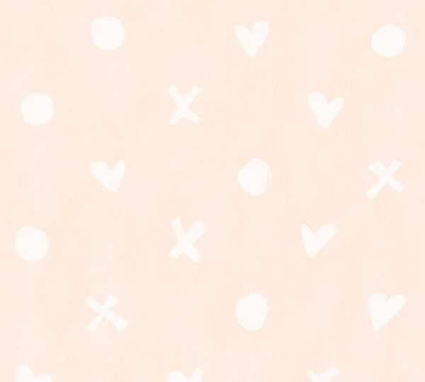 Vliestapete Herz Kreuz Punkt Muster rosa weiß
