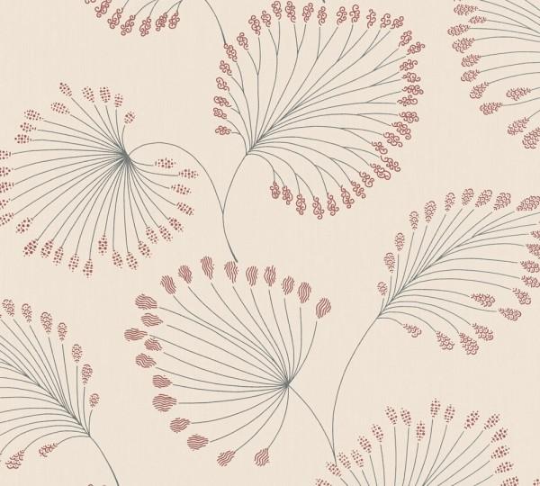 Vlies Tapete Blätter creme rot metallic