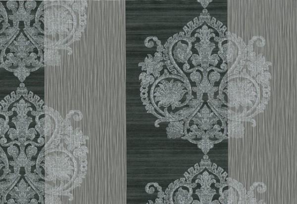 Vliestapete Barock Ornament Streifen Optik schwarz silber grau