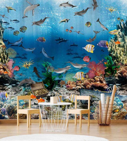 Vlies Fototapete Aquarium Wandbild 300 x 280 cm