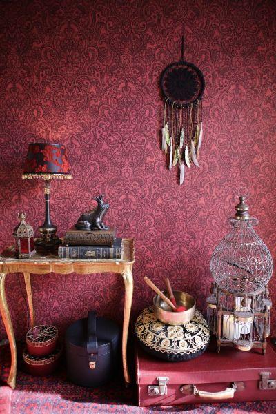 Vliestapete Boho Henna Ornament rot