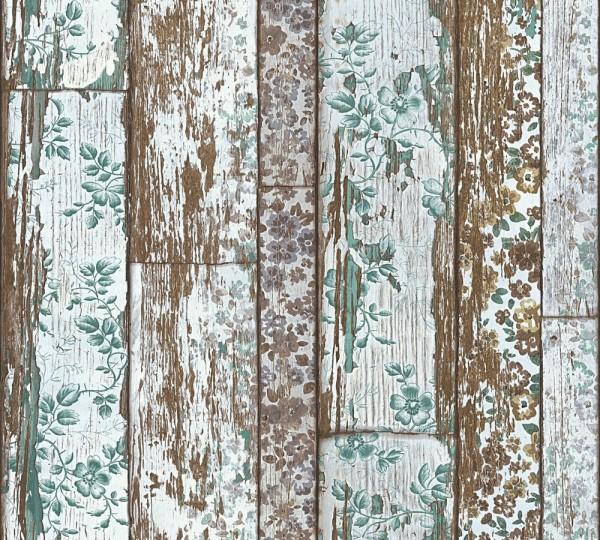 Landhaus Holz braun Blumen Vliestapete Marie