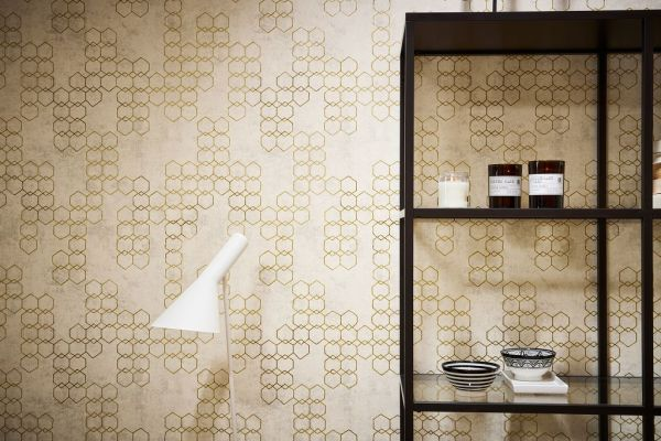 Vliestapete grafisches Hexagon Muster Beton creme gold grau metallic
