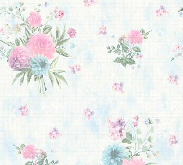 Vliestapete Blumen blau grün rosa Djooz 2