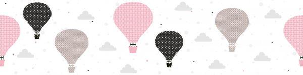 Selbstklebende Bordüre Heißluftballons rosa 5,00m x 0,155m
