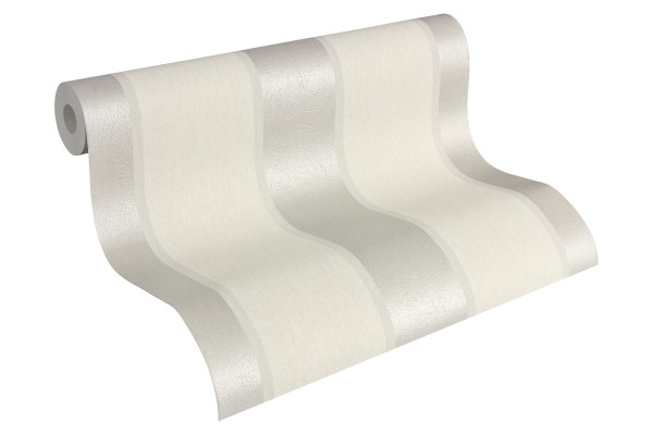 Vliestapete Streifen Optik weiß silber grau Fleece Royal 96186-1