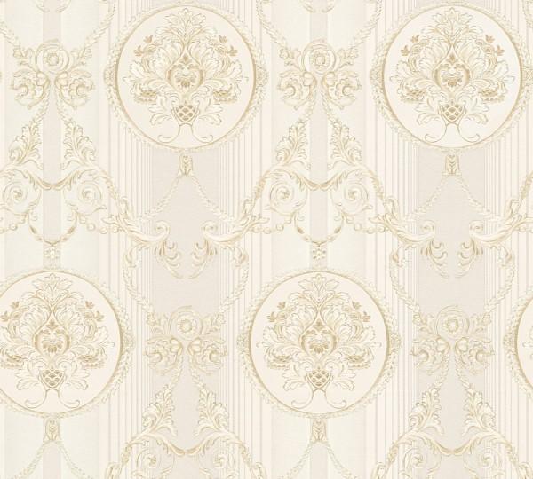 Vliestapete klassischer Barock creme beige metallic