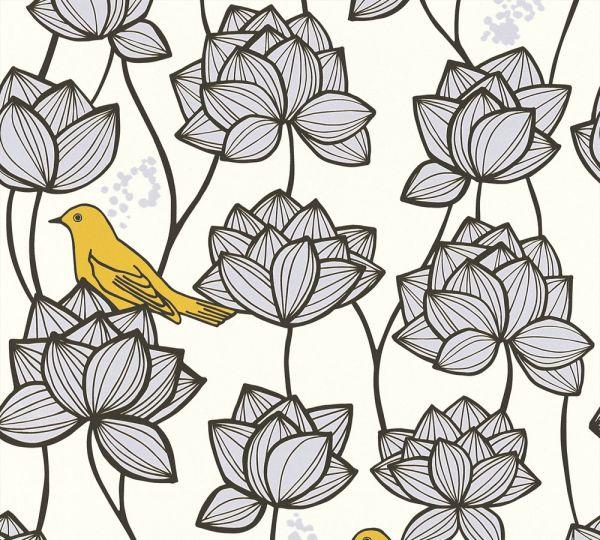 Vliestapete Blumen Vögel weiß grau gelb