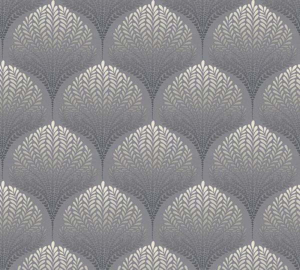 Vliestapete Retro Floral Blätter grau schwarz weiß