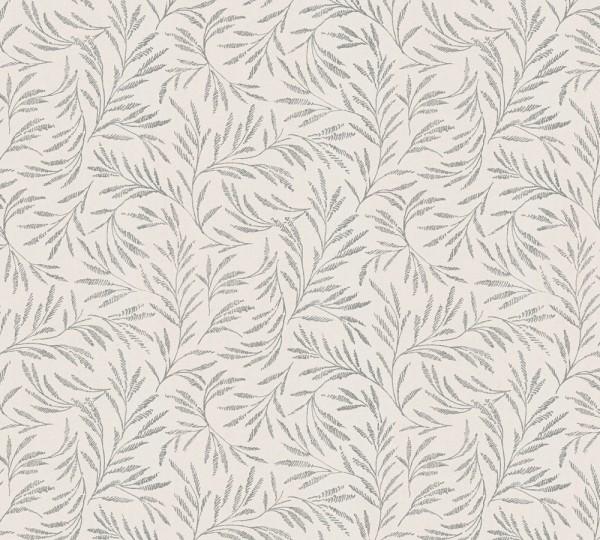 Vliestapete Blätter Zweige beige grau glanz