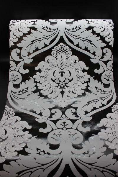 Vlies Tapete Barock Muster Ornament schwarz grau glitzer effekt ...
