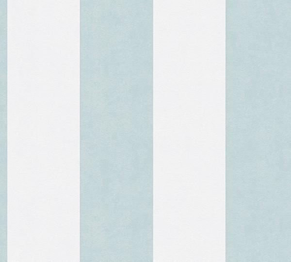 Gestreifte Kindertapete Esprit Kids Streifen Blau Metallic Silber Grau Vlies