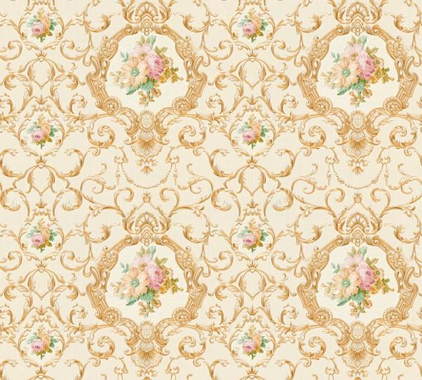 Vliestapete Ranken Blumen beige gold glanz Chateau 5