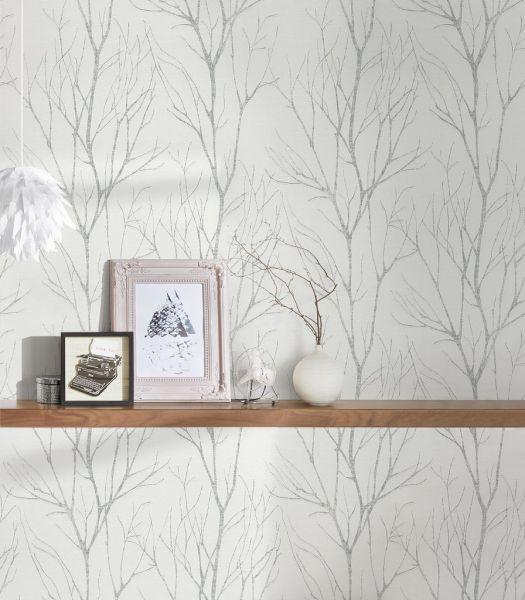 Vliestapete Natur Äste Zweige weiß silber metallic