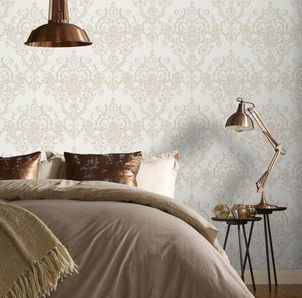 Viktorianische Barock Vlies Tapete creme weiß gold