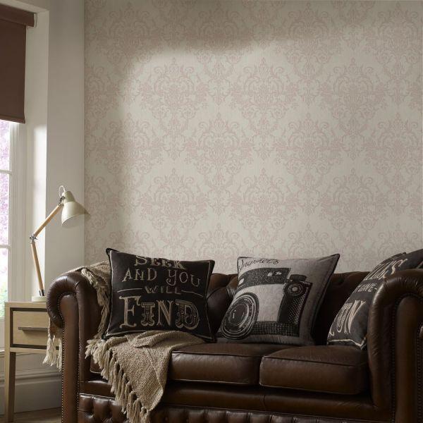 Viktorianische Barock Vlies Tapete beige rose gold