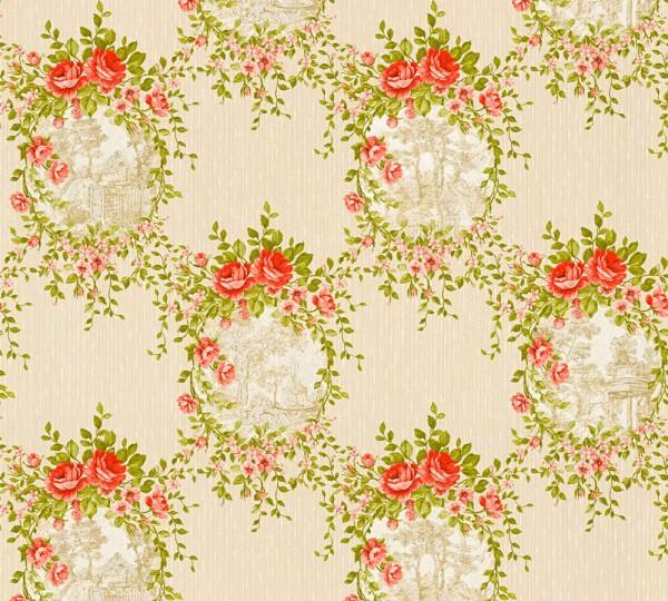Vliestapete Blumen Landhaus beige grün rot Chateau 5
