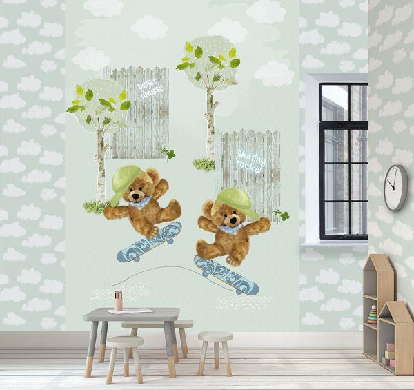 Kinder Vlies Fototapete Teddybären skate life mint Wandbild 200 x 300cm