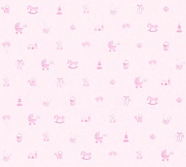 Vliestapete Kinder Baby Spielzeug rosa
