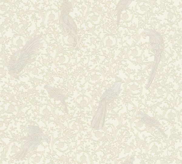 Ranken Ornament Papageien Tapete creme weiß metallic Versace 4