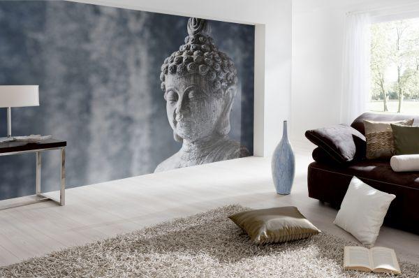 Fototapete Digitaldruck Buddha Kopf grau 255 x 350 cm
