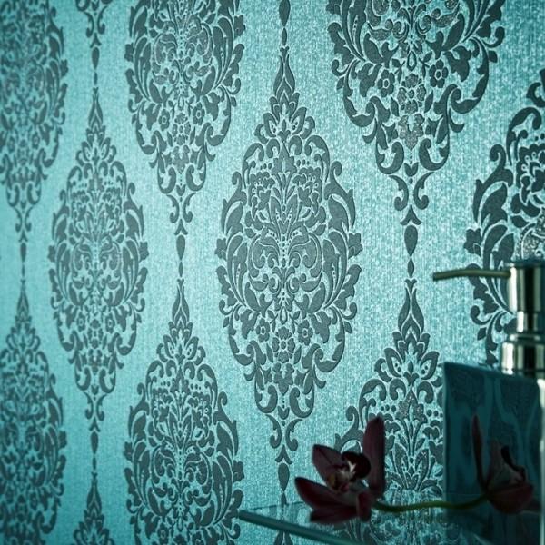 Vinyl Tapete Barock Muster Ornament türkis schwarz glitzer klassisch