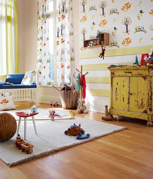 Vliestapete Esprit Kids Streifen creme gelb grün