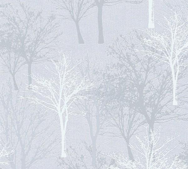 Vliestapete Bäume Natur hellgrau blau Elegance