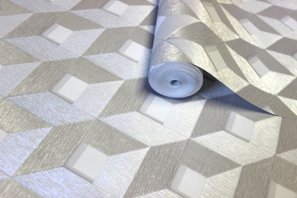 Vlies Tapete 3D effekt Würfel Cubes Rauten metallic weiß silber