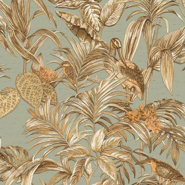 Design Vliestapete Palmen Kranich Stickoptik grün braun