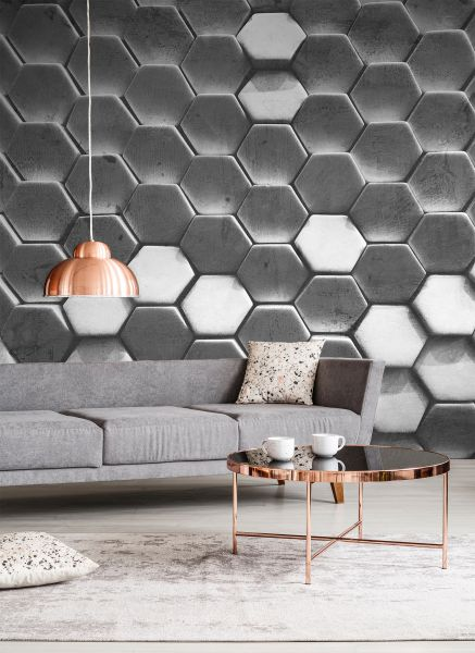 Fototapete Digitaldruck 3d Hexagon Muster 255 x 350 cm