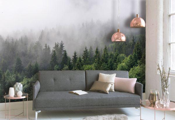 Fototapete Digitaldruck Tannen Nebelwald 255 x 350 cm