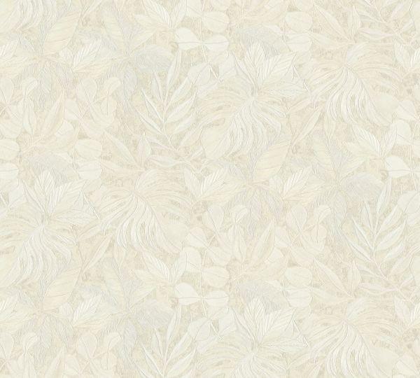 Vliestapete Floral Blätter creme Aloha Großrolle