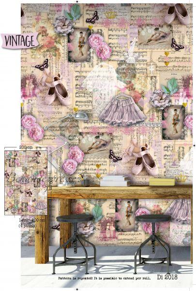 Vlies Fototapete Vintage Blumen Ballerina Wandbild 200 x 300 cm