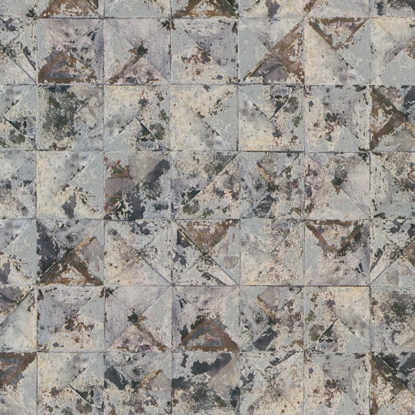 Vliestapete Beton Mosaik Kacheln grau blau silber rost braun metallic