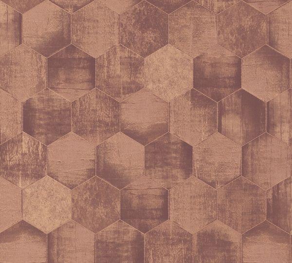 Vliestapete Hexagon Muster grafisch Waben kupfer