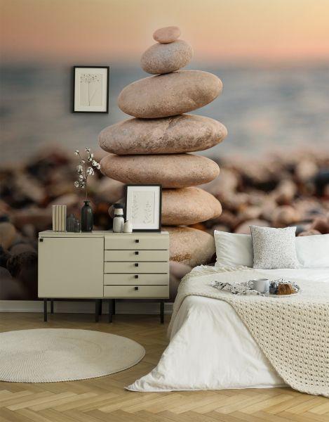 Fototapete Digitaldruck Wellness Steine Strand Sonnenuntergang 255 x 350 cm